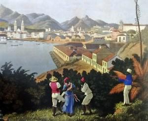 Karl Robert Edler von der Planitz.  Vista da cidade de São Sebastião do Rio de Janeiro da Ilha das Cobras (1835-1840).  Vê-se a torre de Santa Rita, diante do antigo palácio episcopal. Ao fundo, o Pico da Tijuca.