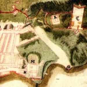 M: São Bento. N: Alfândega. O: Prainha. Q: Fortaleza da Conceição. R: Palácio episcopal. S: muro da cidade (Massé, 1714)